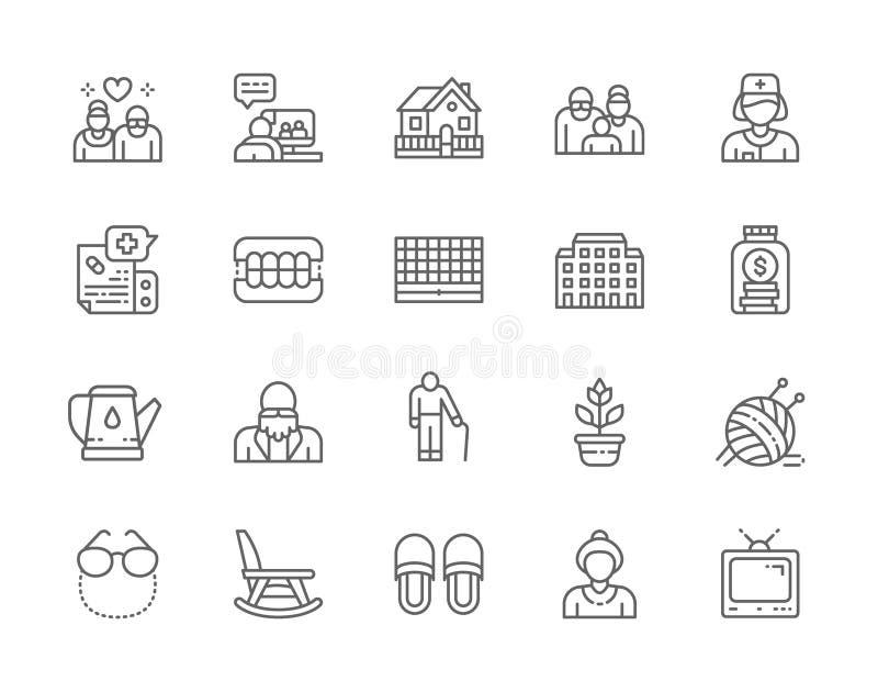 Set of Nursing Home Line Icons. Pensioner, Hospital, Seniors, Furniture and more. Set of Nursing Home Line Icons. Pensioners, Elderly Couple, Seniors, Country stock illustration