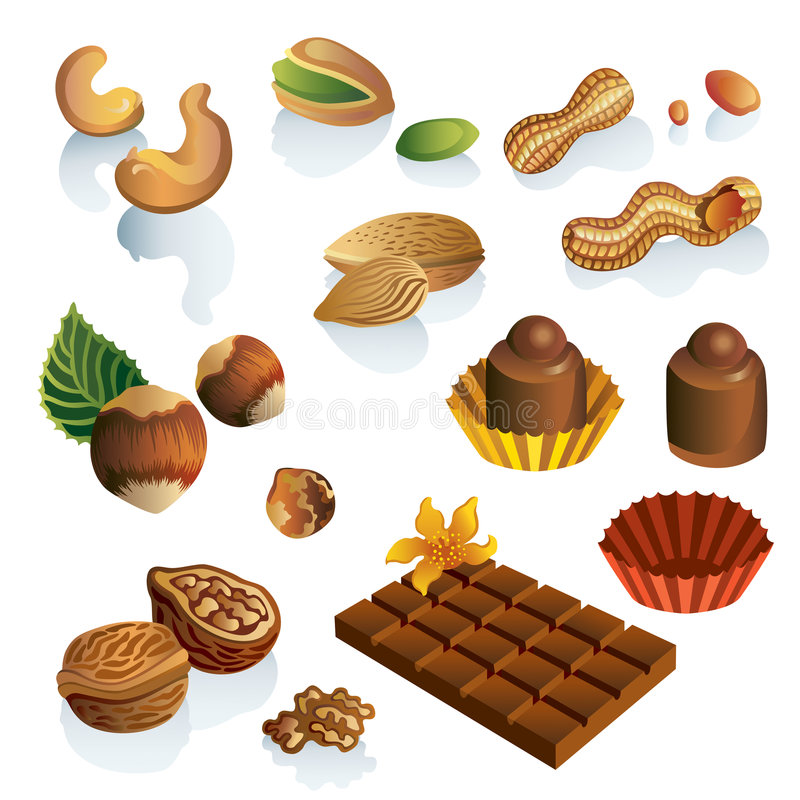 Set Of Nuts And Chocolate Sweets Royalty Free Stock Photos