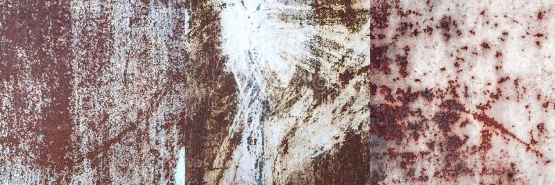 Set ośniedziałe metali prześcieradeł nawierzchniowe tekstury obrazy royalty free