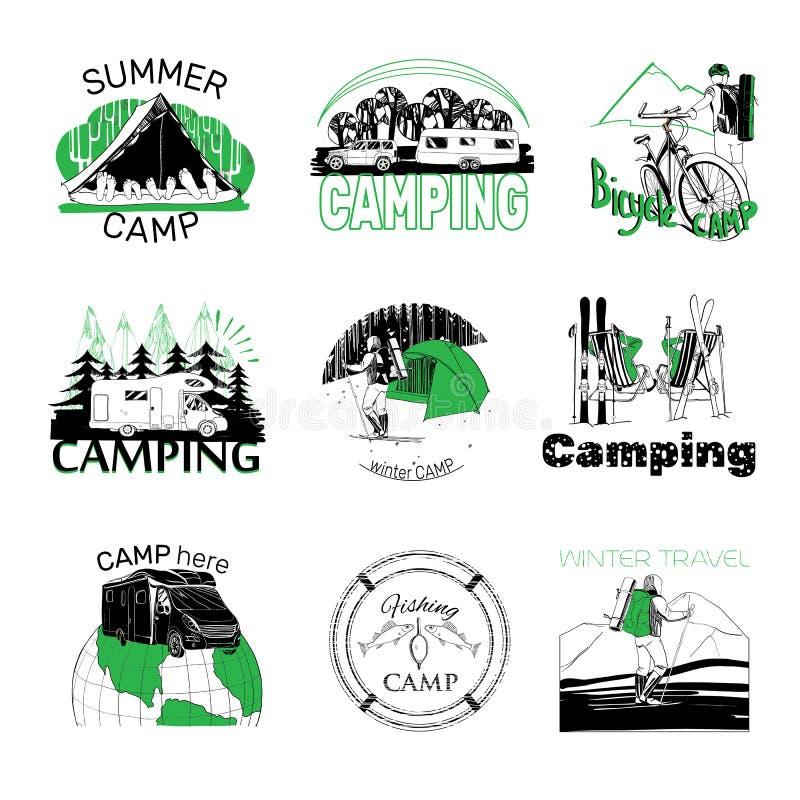 Set obóz etykietki i logo grafika ilustracja wektor