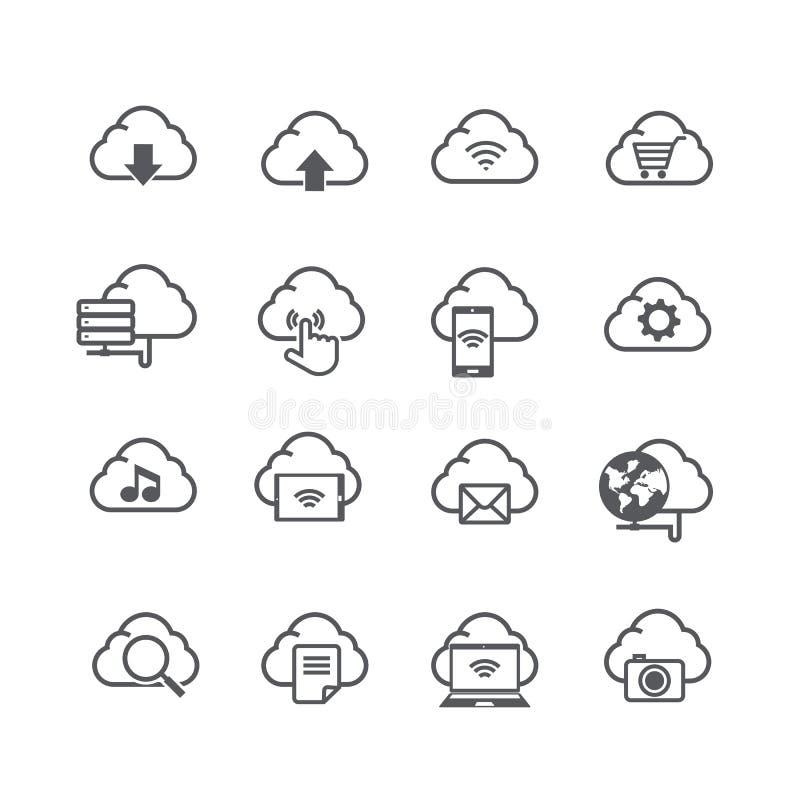 Set obłoczna komputeru i socjalny sieci związku ikona odizolowywa ilustracji