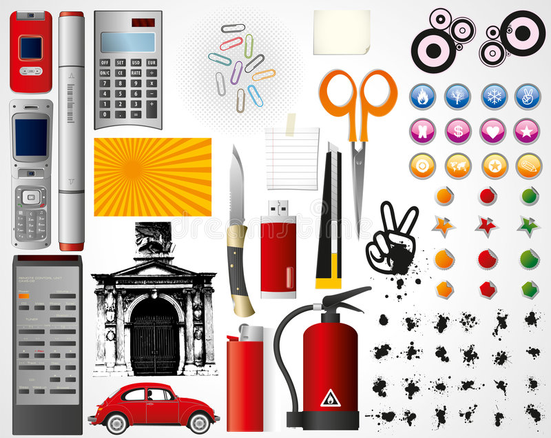 Set of objects vector illustration