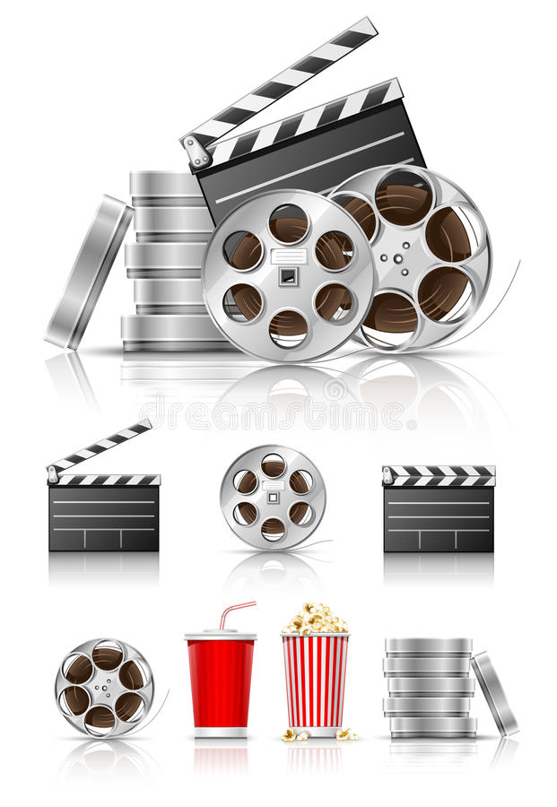 Set of objects for cinematography stock illustration