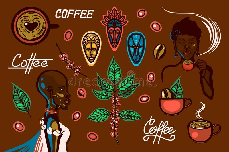 A set of objects on a coffee theme in Ethiopia. Women, coffee cups, coffee branches, coffee beans, berries, traditional masks, let royalty free illustration