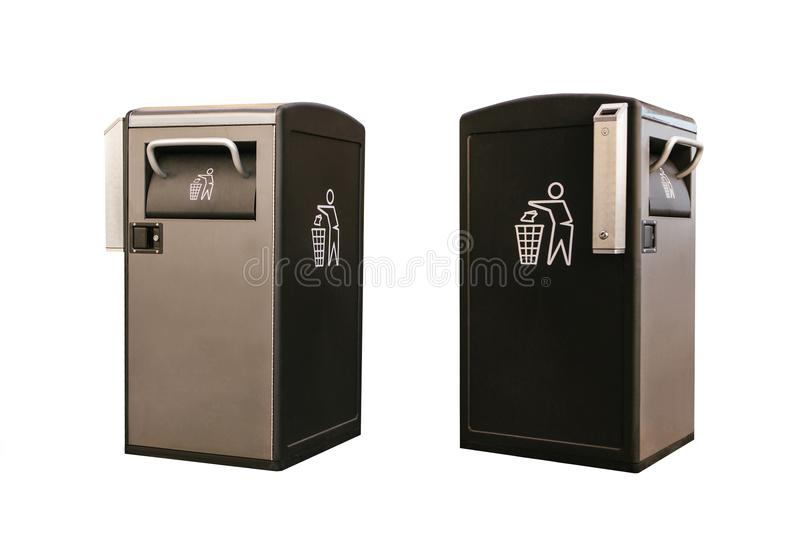 Set. Objects in different positions. Modern smart bin isolated on white background. Waste collection stock photo
