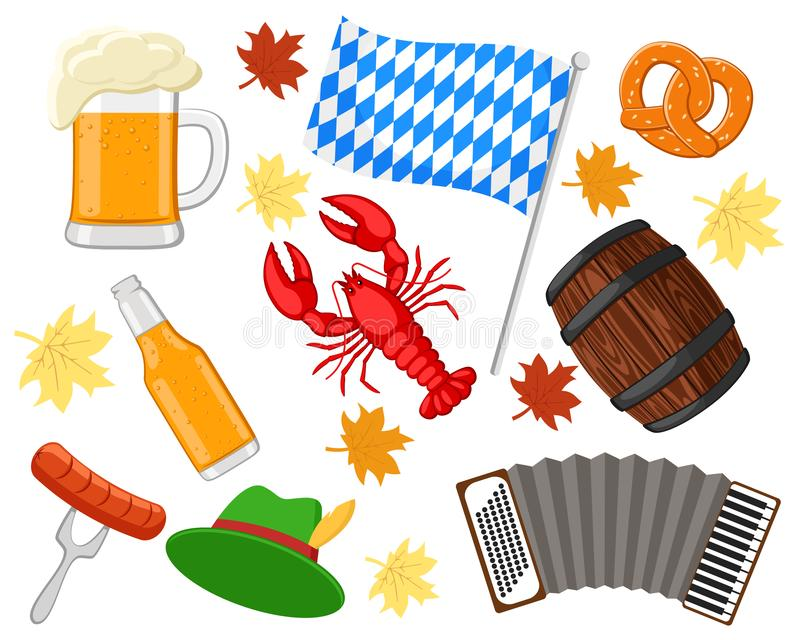 Set of objects for the holiday Oktoberfest on a white. stock illustration