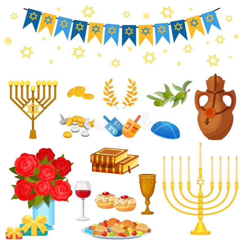 Set of objects of traditional Jewish holiday Hanukkah, feast lights. stock illustration