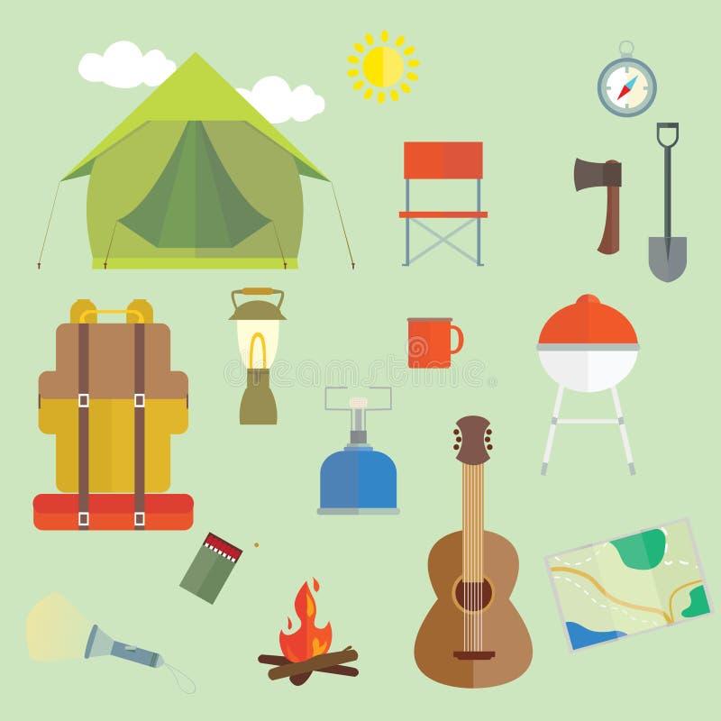 Set obozować outdoors wycieczkuje podstawy wektoru wizerunki ilustracja wektor
