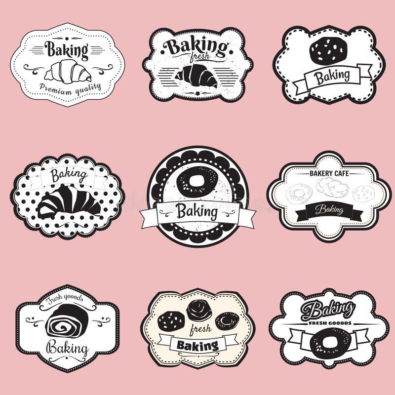Set obramia ciasto, croissant, rolka, chleb, ilustracja, royalty ilustracja