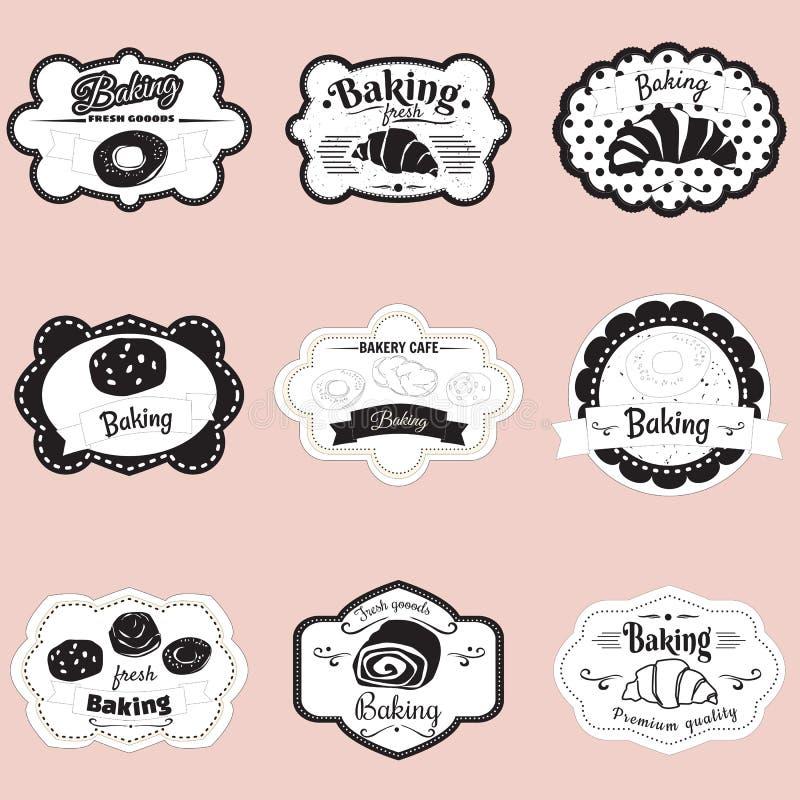 Set obramia ciasto, croissant, rolka, chleb, ilustracja, wektor ilustracji