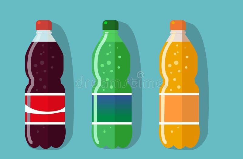 set obrazek plastikowa butelka koka-kola, sprite, fantazi pomarańczowa soda zdjęcia royalty free