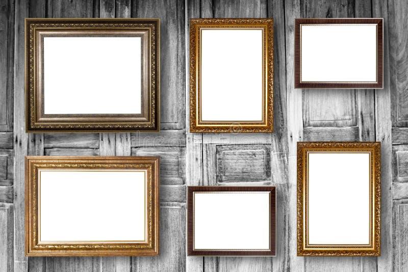 Set Obrazek Rama Fotografii galeria sztuki na drewnianym roczniku obraz stock