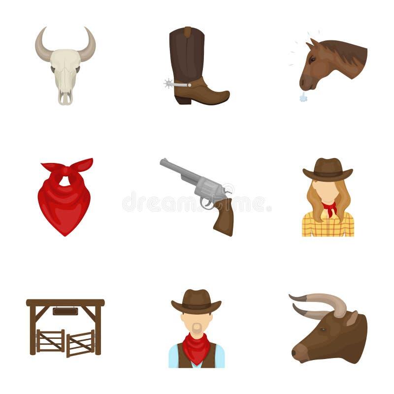 Set obrazki o kowbojach Kowboje na rancho, konie, bronie, baty Rodeo ikona w ustalonej kolekci na kreskówce ilustracja wektor