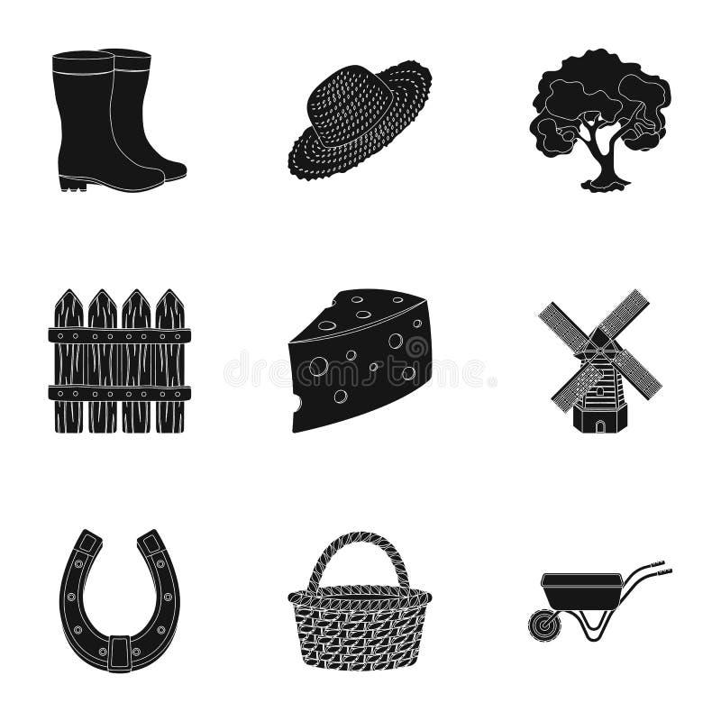 Set obrazki o ogrodnictwie Wioska, jarzynowy ogród, ogród, ekologia Gospodarstwa rolnego i ogrodnictwa ikona w ustalonej kolekci  ilustracja wektor