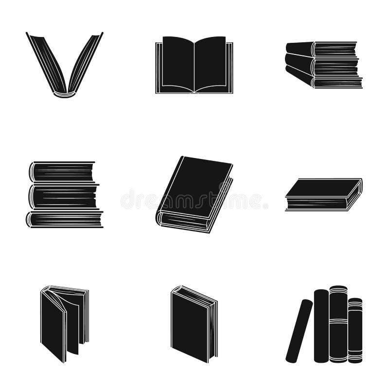 Set obrazki z książkami Książki, notatniki, studiują Książki ikona w ustalonej kolekci na czerń stylu symbolu wektorowym zapasie ilustracji
