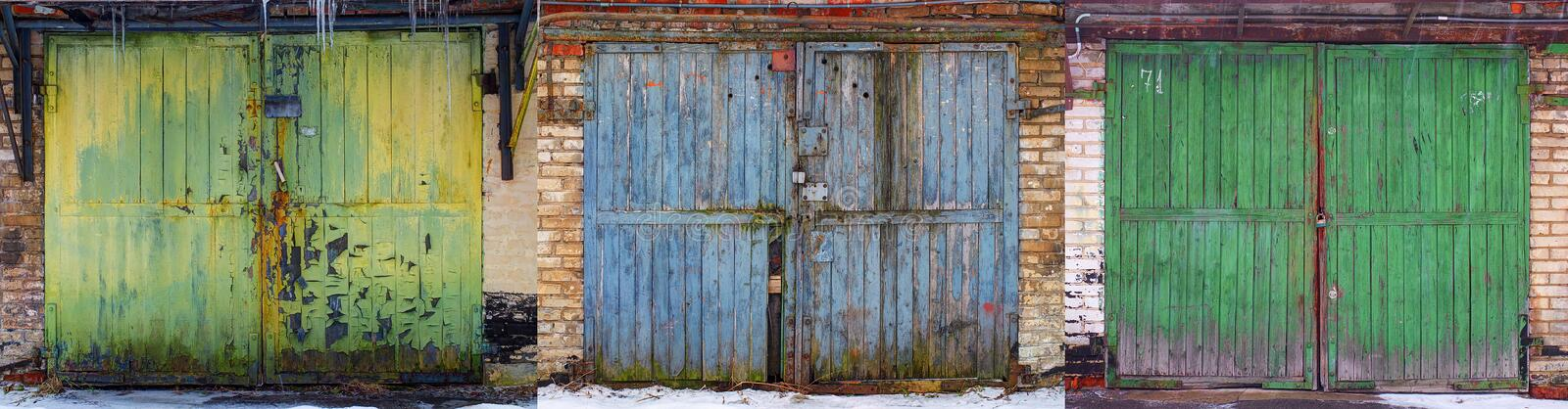 Set of obsolete worn out wear old fashion car garage wooden gates background abstract pattern texture. Antique automobile old wood stock photography