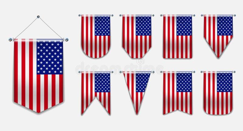 Set obwieszenie flagi usa z tekstylną teksturą Różnorodność pionowo odosobneni 3D kształty flaga państowowa kraj royalty ilustracja