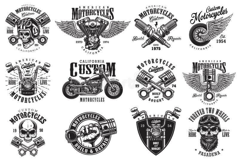 Set obyczajowi motocykli/lów emblematy ilustracja wektor