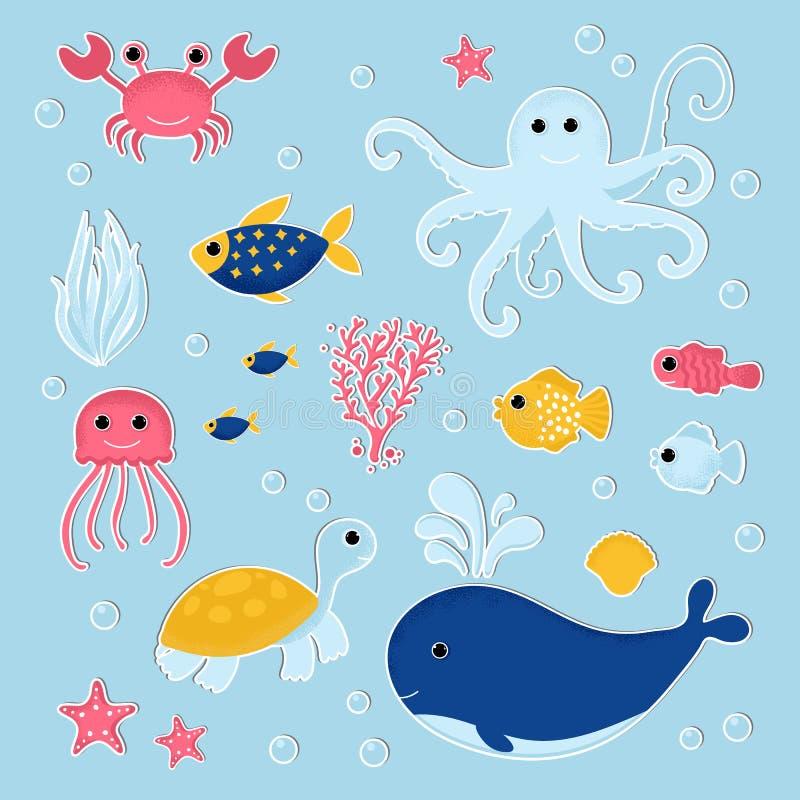 Set of Ocean animal in modern flat style stock illustration
