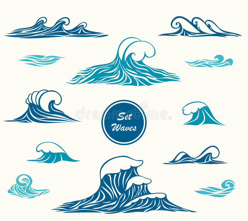 Set ocean or sea waves in marine blue colors. For logotype or for making design by marine themes vector illustration