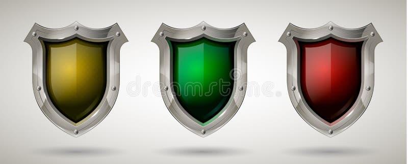 Set ochronna stal strażnika osłona z zbawczym szkłem Realistyczny styl Odosobniony tło royalty ilustracja