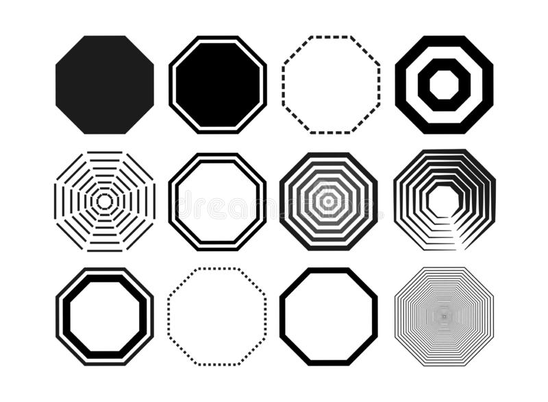 Set of octagon icon pack. Geometry octagonal black eight sided polygon octagon line. Vector illustration. Isolated on white backgr royalty free illustration