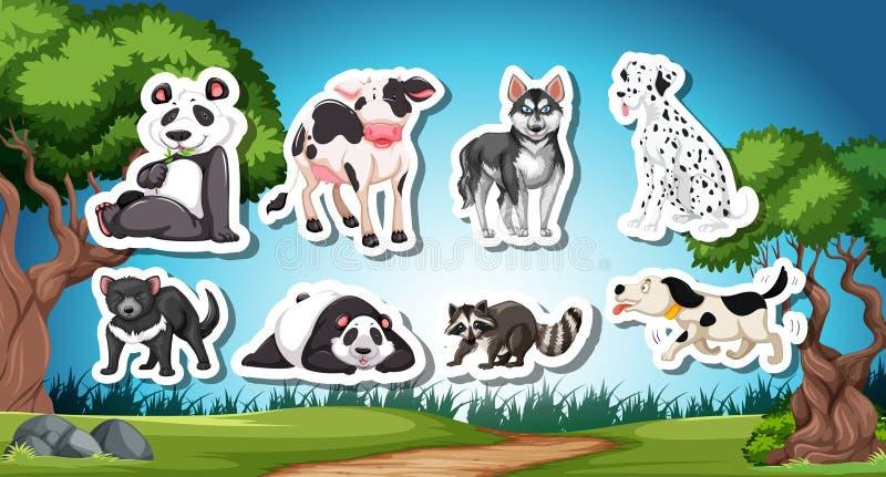 Set od black and white animal. Illustration vector illustration
