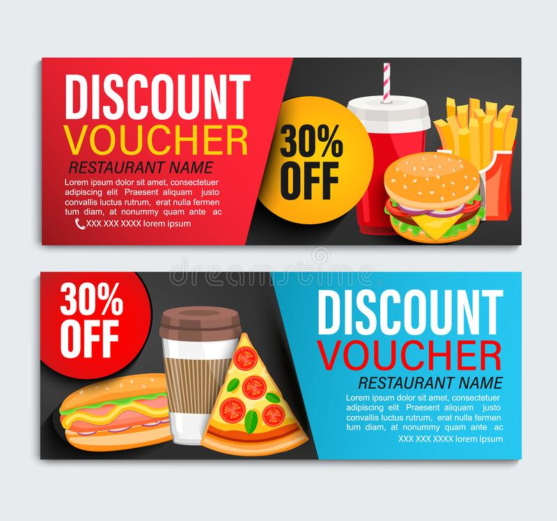 Set od Discount gift vouchers. royalty free illustration