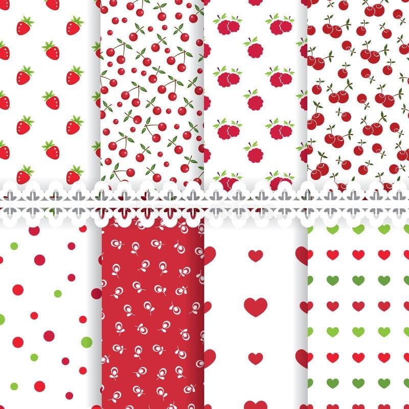 Set od floral seamless patterns stock illustration