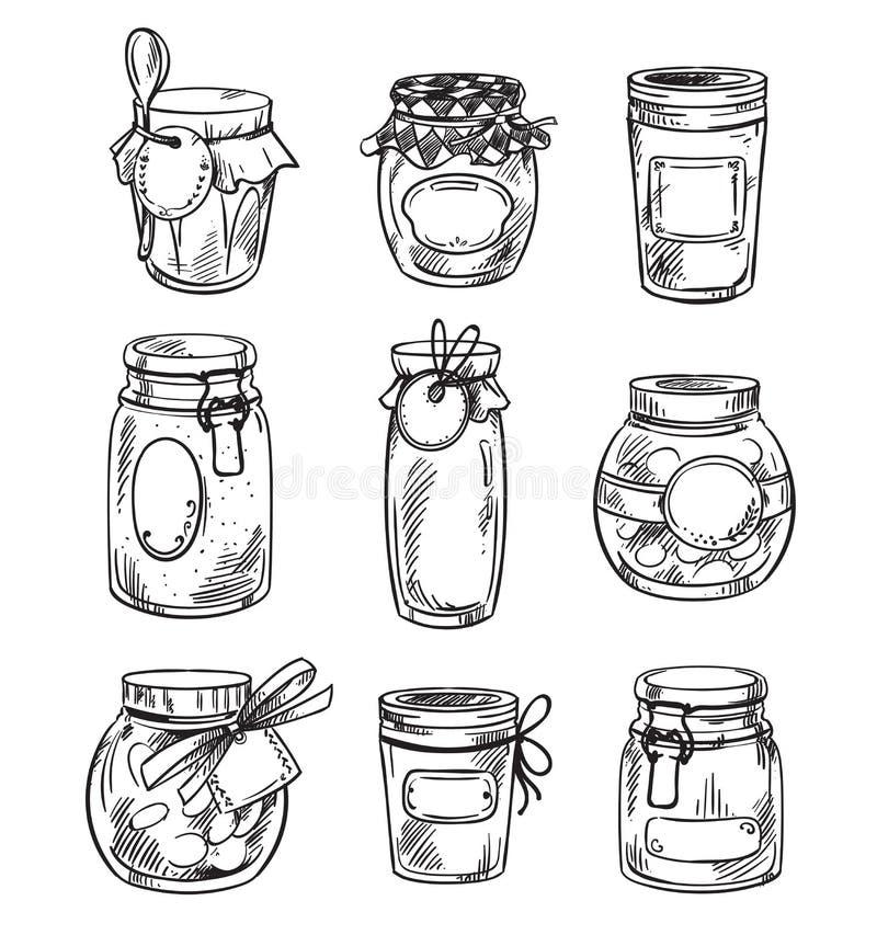 Set od hand drawn mason jars with jam, vector illustration.  royalty free illustration
