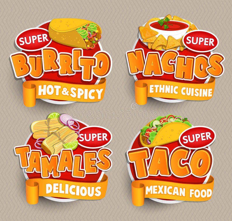 Set od traditional Mexican food logos, stickers. vector illustration