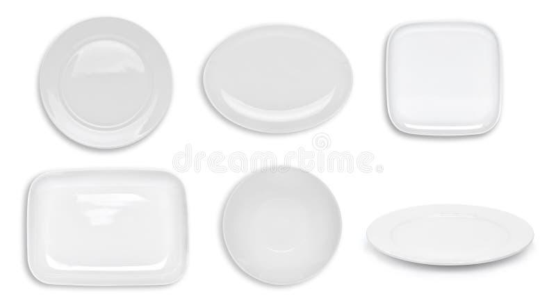 Set odgórnego widoku bielu pusty talerz odizolowywający na bielu obrazy stock