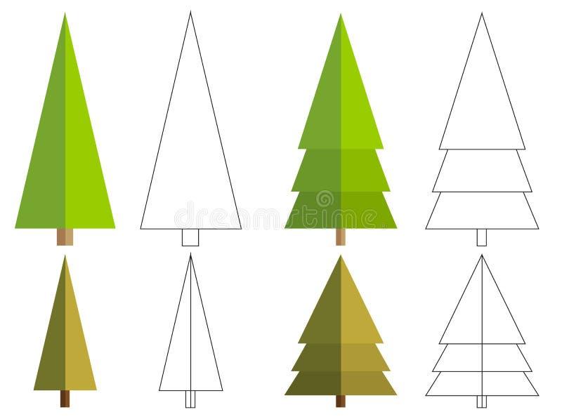 Set 4 odizolowywał płaską conifer drzewa i kolorystyki książki różnicę ilustracji