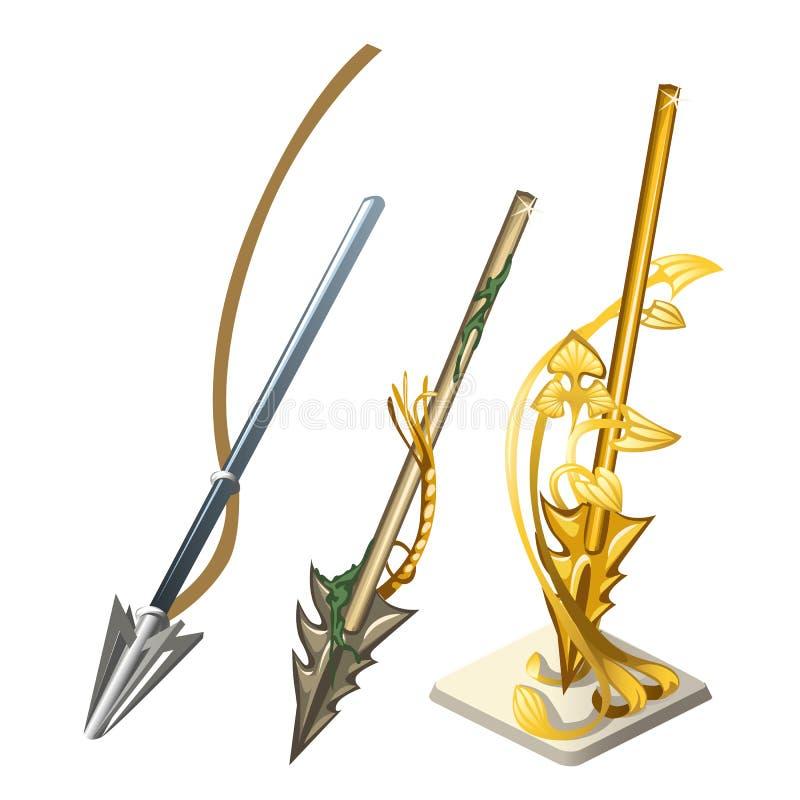 Set odizolowywający na białym tle strzała harpun Pamiątka zrobi złoto Wektorowa kreskówki zakończenia ilustracja ilustracji