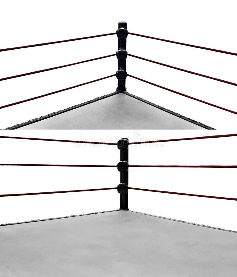 Set odizolowywający na białych tło bokserski pierścionek obraz stock