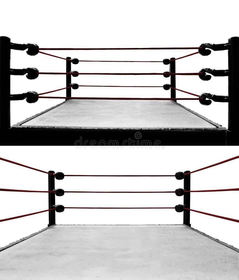 Set odizolowywający na białych tło bokserski pierścionek zdjęcie royalty free