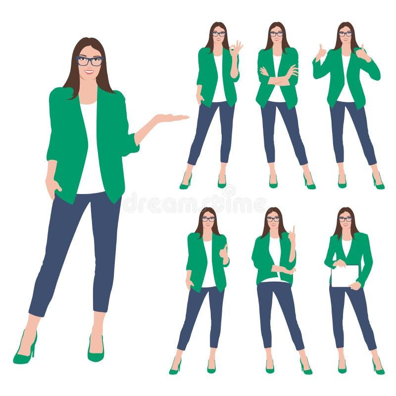 Set odizolowywający na białym tle biznesowa kobieta Biznesowa kobieta stoi i gestykuluje kobieta garnitur Wo ilustracja wektor