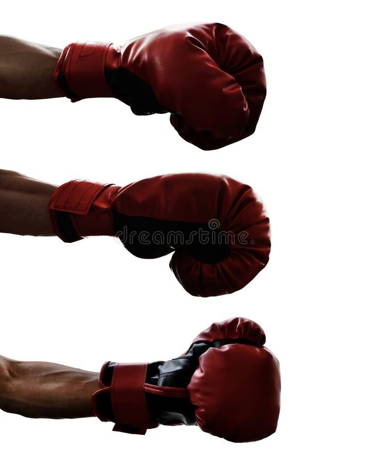 Set odizolowywający na białym tle bokserska rękawiczka obraz stock