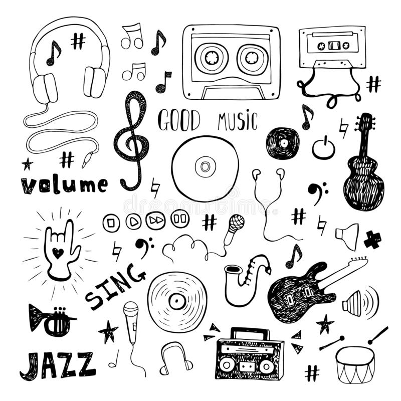 Set odizolowywający na białym tle muzyczny doodle ilustracja wektor