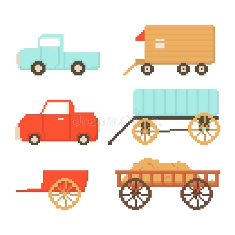 Set odizolowywający na białym tle wioska transport Samochód, przyczepa, fura Grafika dla gier 8 kawałków Wektorowa ilustracja w p ilustracja wektor