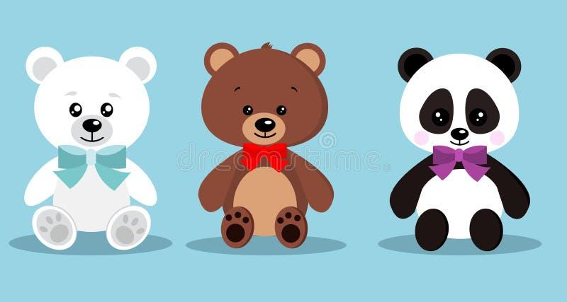 Set odosobneni śliczni eleganccy wakacyjni miś pluszowy zabawki niedźwiedzie z łęku krawatem w obsiadanie pozie: niedźwiedź bruna royalty ilustracja