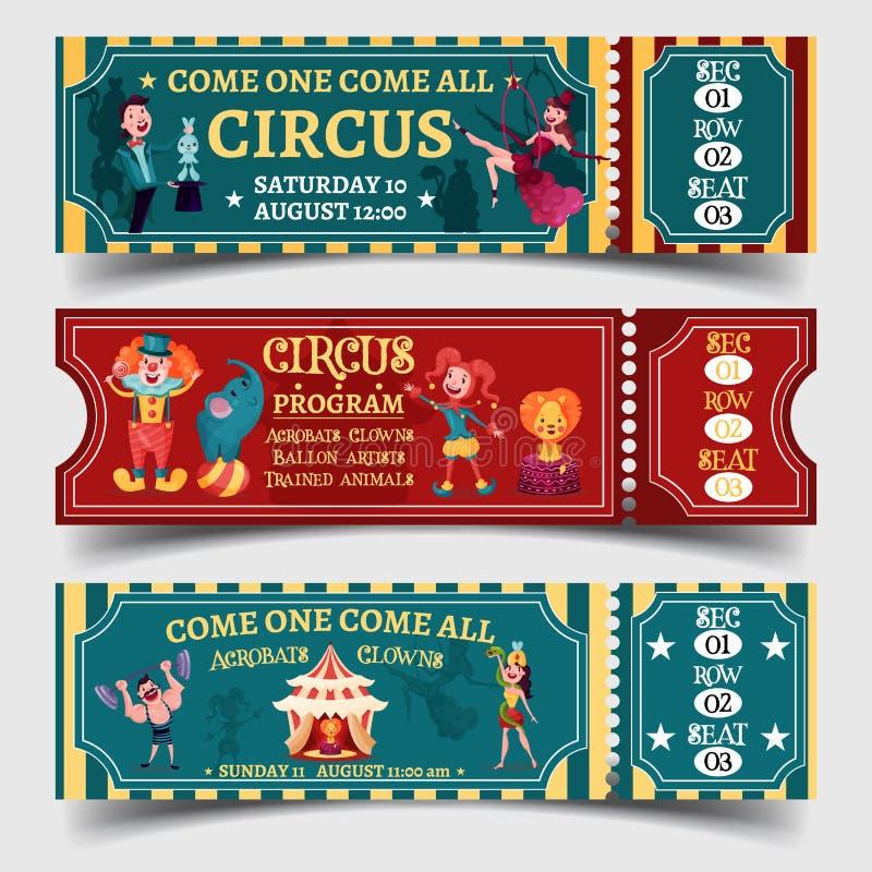 Set odosobneni cyrkowi zabawni przedstawienie bilety royalty ilustracja