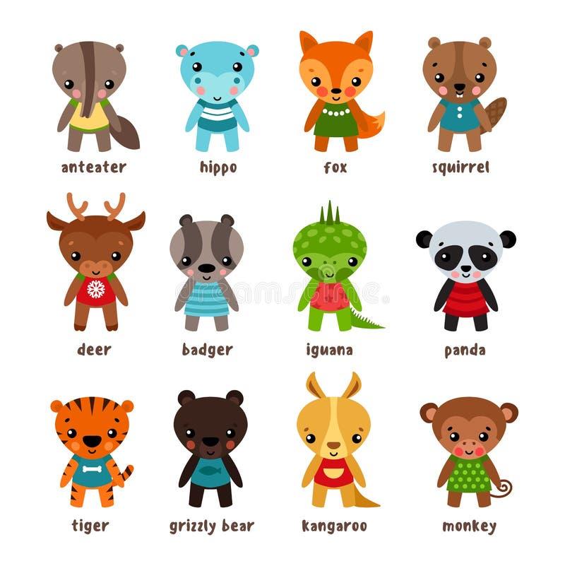 Set odosobneni kreskówki dziecka zwierzęta royalty ilustracja