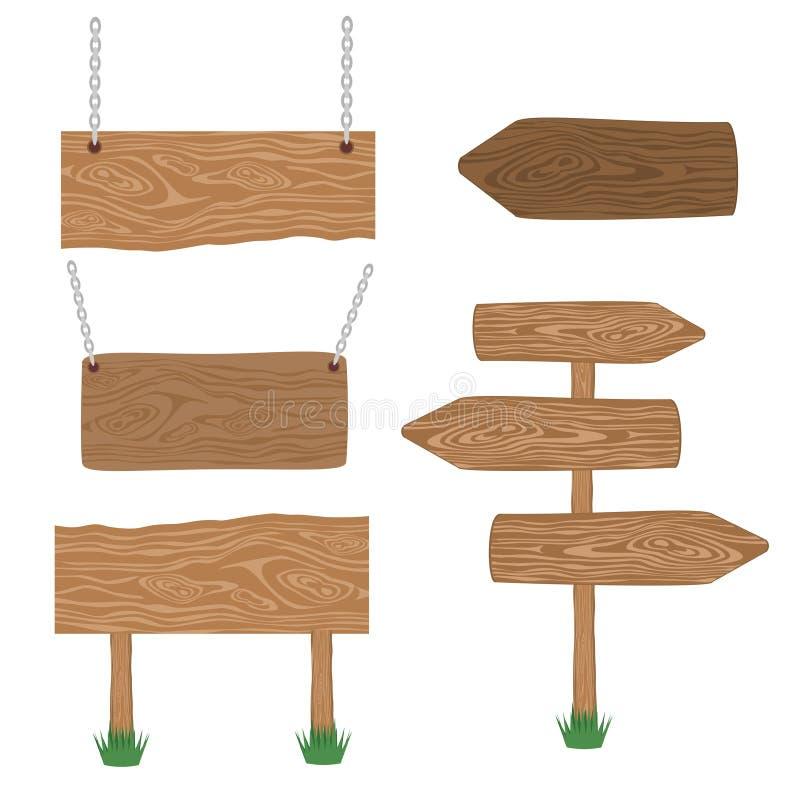 Set odosobneni znaki, drewnianej drogowego znaka deski drewniany znak wskazuje strzałkowata ścieżka ilustracji