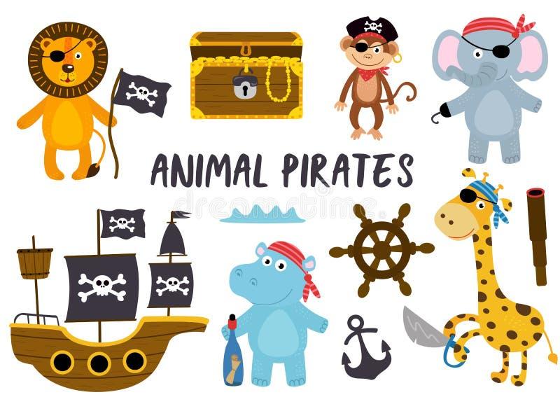Set odosobneni zwierzę piraci i inny elementu część 2 ilustracja wektor