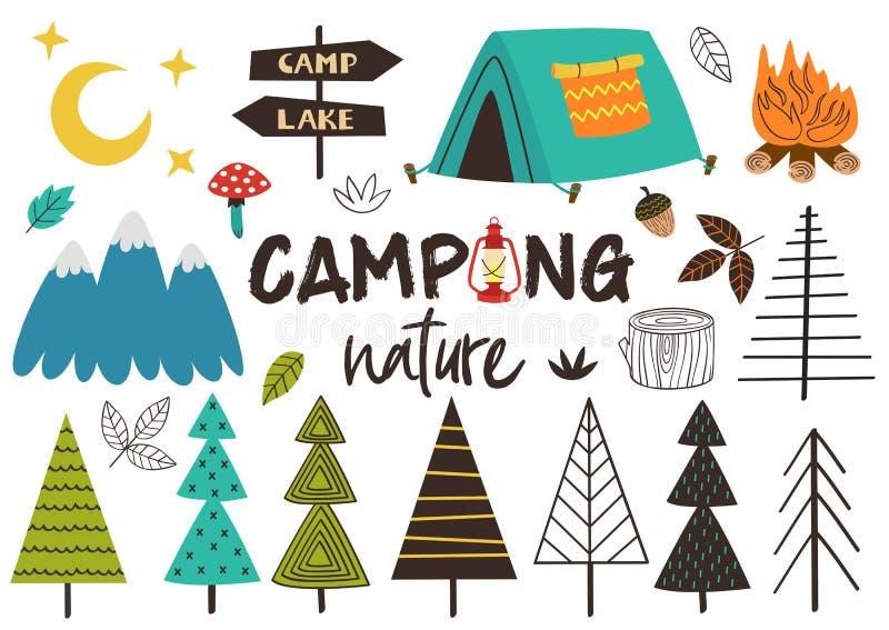Set odosobniona campingowa natura royalty ilustracja