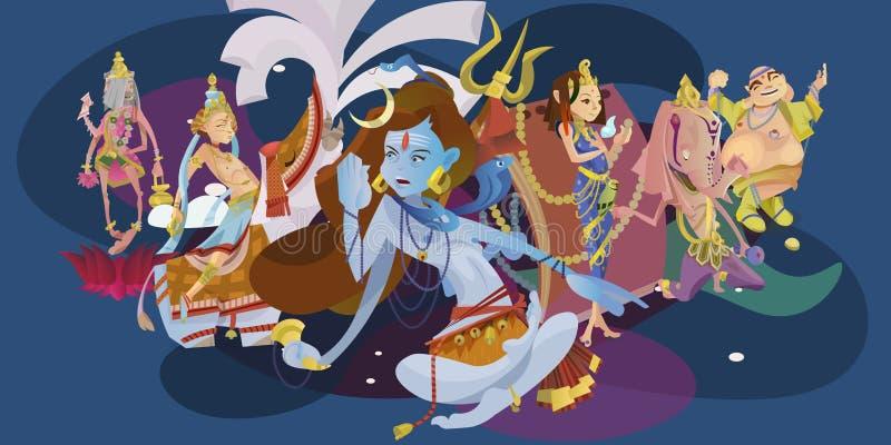 Set odosobniona hinduska bóg medytacja w joga pozuje lotosu i bogini hinduism religię, tradycyjna azjatykcia kultura royalty ilustracja