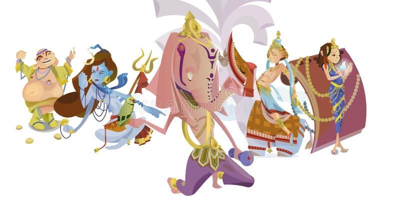 Set odosobniona Indiańska bóg medytacja w joga pozuje lotosu i bogini hinduism religię, tradycyjna azjatykcia kultura royalty ilustracja