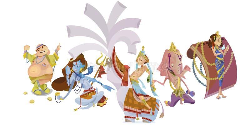 Set odosobniona Indiańska bóg medytacja w joga pozuje lotosu i bogini hinduism religię, tradycyjna azjatykcia kultura ilustracja wektor