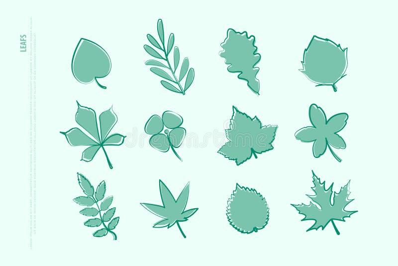 Set odosobniona ręka rysować liść ikony wektor opuszcza loga royalty ilustracja